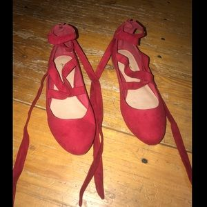 Red Suede tie around ankle Flats